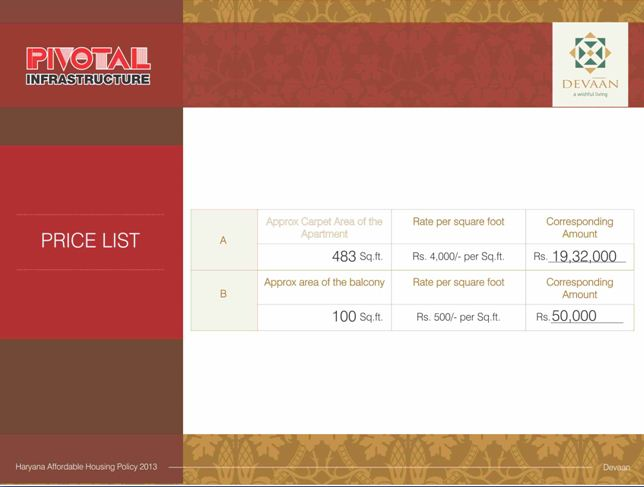 Price List Pivotal Devaan