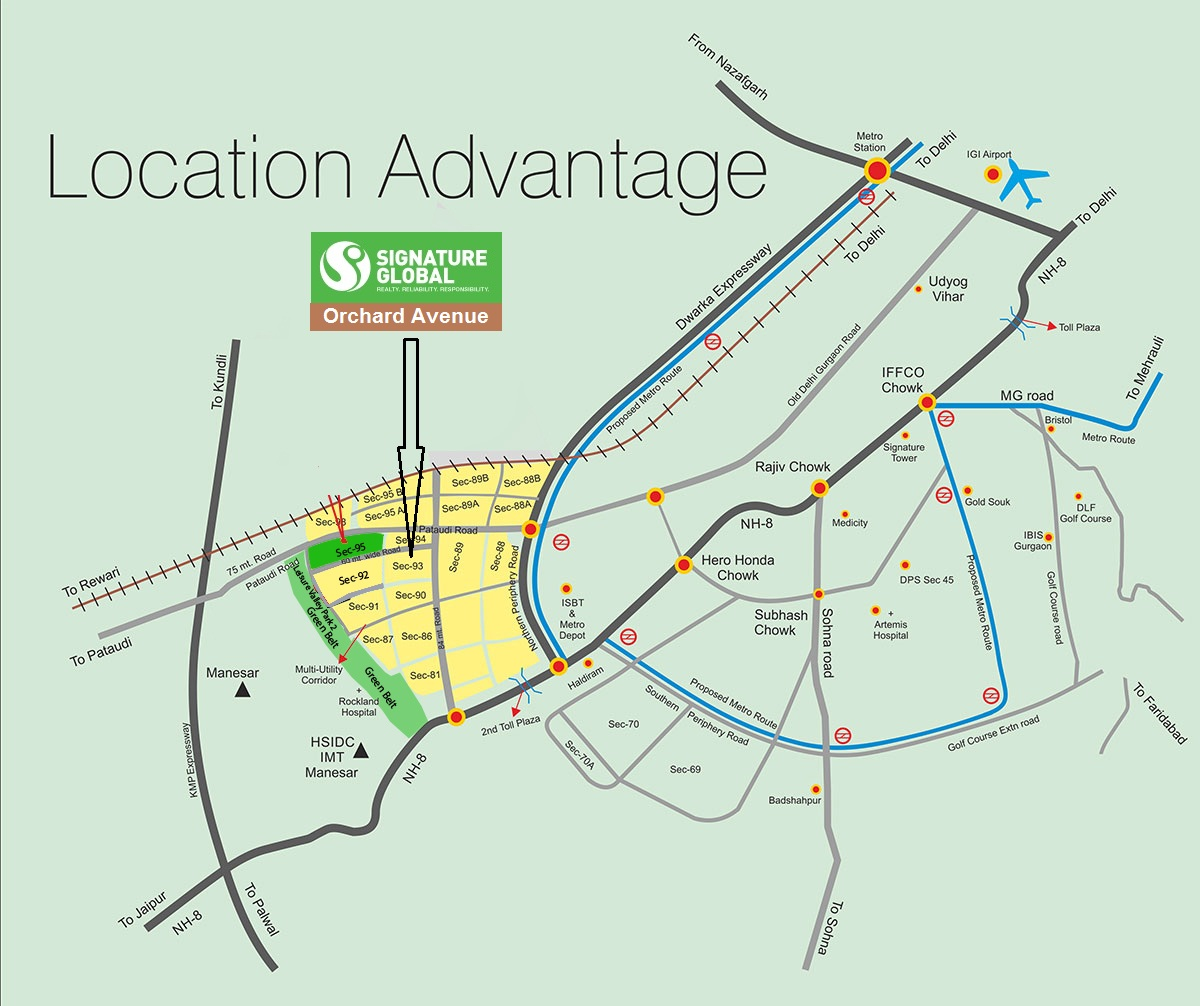Signature global Orchard Avenue Location Map