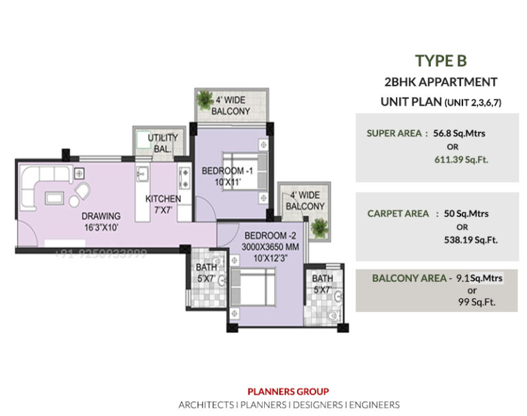 Breez Hill View TYPE-B-2BHK-APPARTMENT