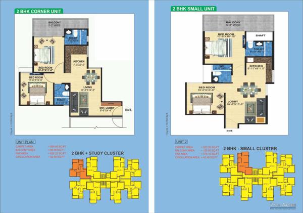 Zara Aavaas sector 104 2bhk Floor plan