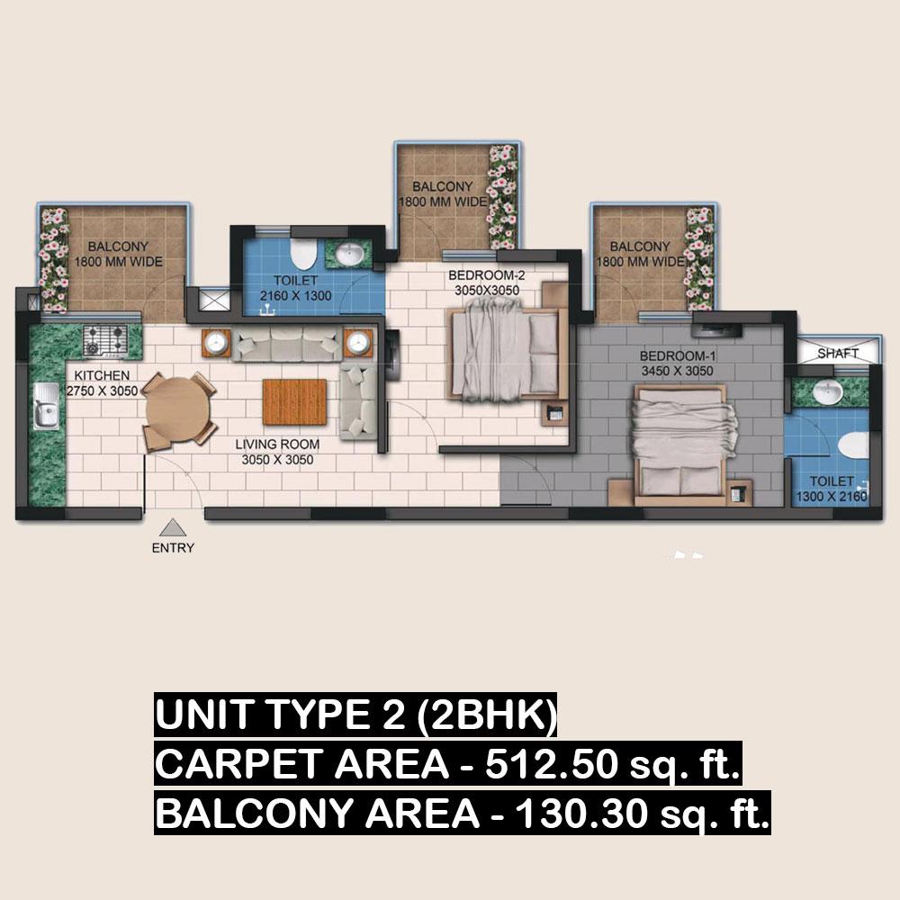 agrante kavyam homes 2bhk unit 2 layout