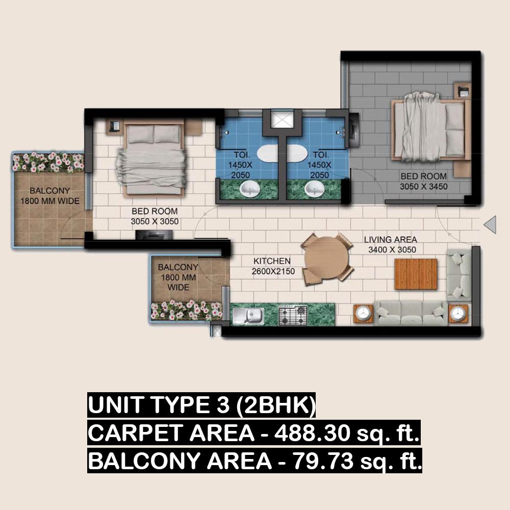 agrante kavyam homes 2bhk unit 3 layout