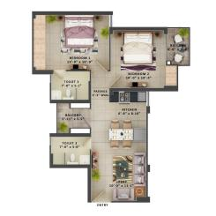 Type C- 2BHK The Meridian