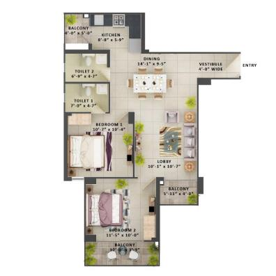 Type E- 2BHK The Meridian