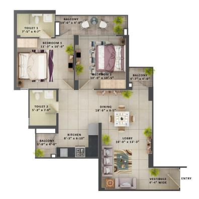 Type G - 2BHK The Meridian