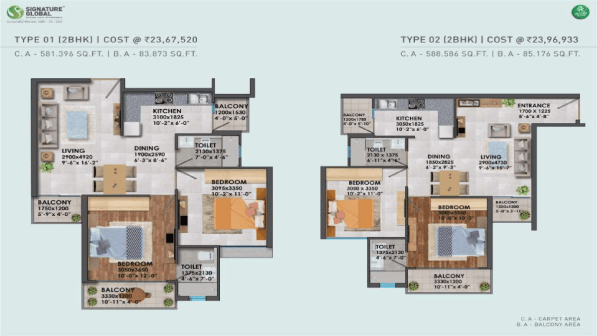 Proxima Floor Plan Type 1 and Type 2