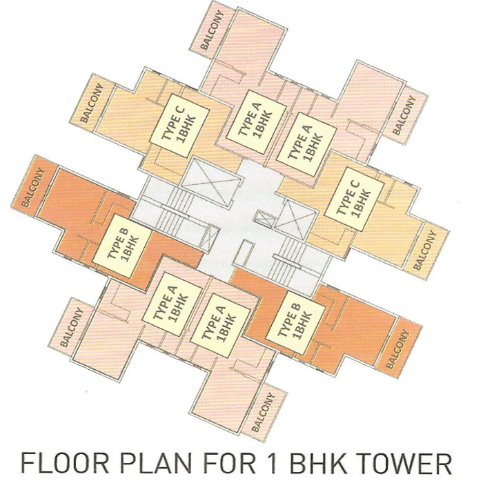 Pyramid Alita Floor Plan for 1 BHK TOWER