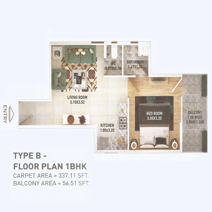 Pyramid 2bhk Type B Layout