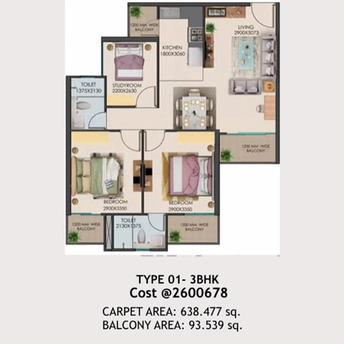 3bhk Type-01 layout of Signature global golf green