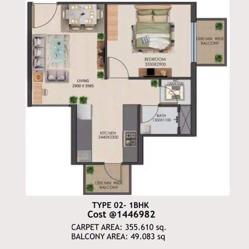 1bhk Type-02 layout of Signature global golf green.