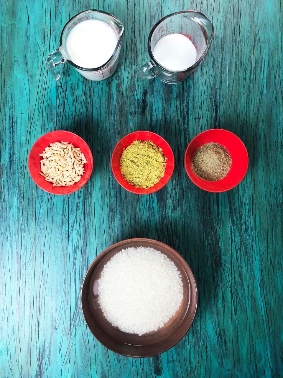 Ingredients needed to make Shir Berenj Recipe (Afghan Rice Pudding)
