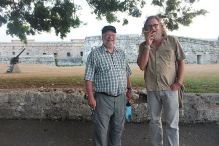 AfGJ's Chuck Kaufman and James Jordan outside the Fortress of San Carlos de la Cabaña in Havana