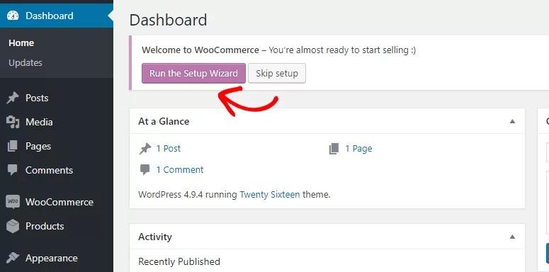 تشغيل معالج إعداد WooCommerce