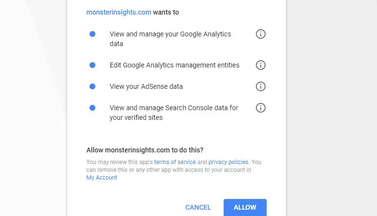 اسمح لـ MonsterInsights بإدارة حسابك