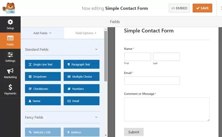 WPForms إنشاء نموذج بالسحب والإسقاط.