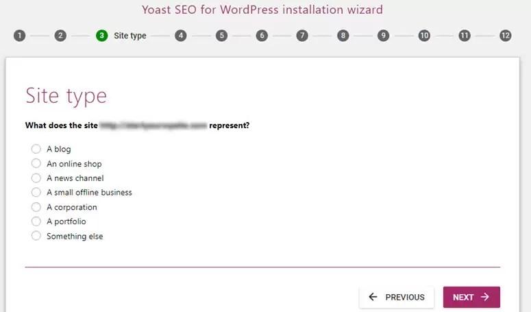 نوع موقع الويب الخاص بك