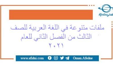 Photo of ملفات مميزة في اللغة العربية للصف الثالث الفصل 2