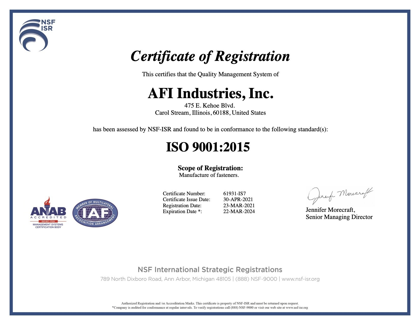 ISO 9001 2015 certificate for AFI Industries