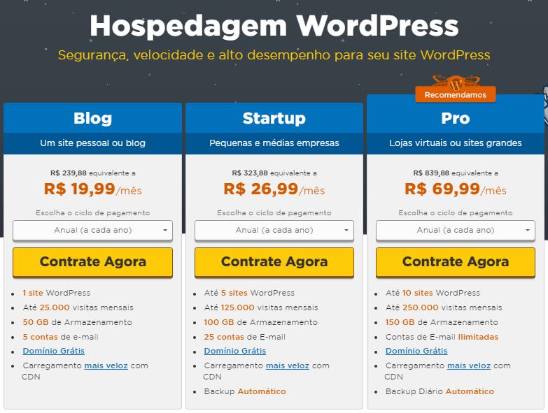 hospedagem wordpress barata para sites e blogs e lojas virtuais