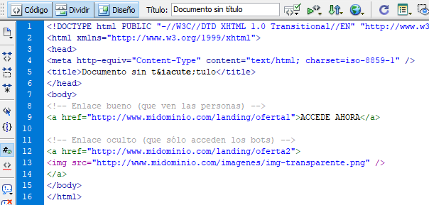 Código enlace oculto