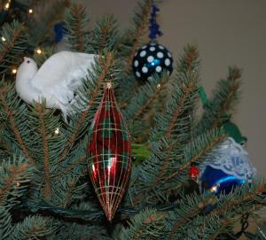A few of my favorites.  The bird was my grandmother's, I believe.  I made the polka-dotted ball a few years ago...