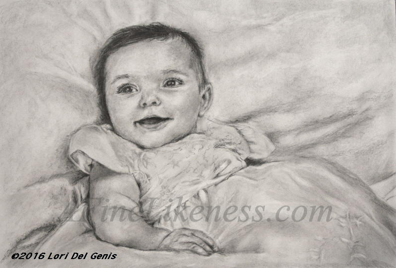 'Lizzy's Christening' - Commissioned Graphite portrait by Lori Del Genis of a little baby on her christening day. Lizzy is wearing a christening dress and is smiling widely at the viewer.