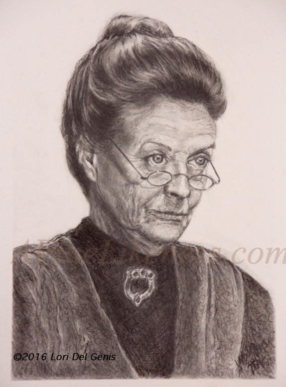 Graphite portrait by Lori Del Genis of Fan art for Prof. Minerva McGonagall from 'Harry Potter'as portrayed by actor Dame Maggie Smith. Prof, McGonagall is wearing her hair pulled back in a bun and is looking severely over her glasses.