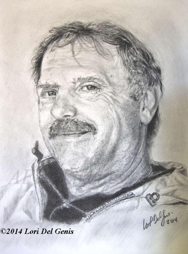 'Mark's Dad'- Commissioned Pencil portrait by Lori Del Genis of a smiling middle-aged man with a mustache and wearing a rain jacket.