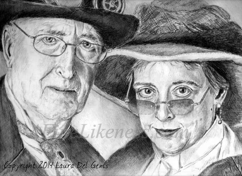 'Marty and Sarah' - Graphite and charcoal portrait of Marty Gear and his friend Sarah, by Lori Del Genis. Portrait shows two people in old victorian steampunk costumes.
