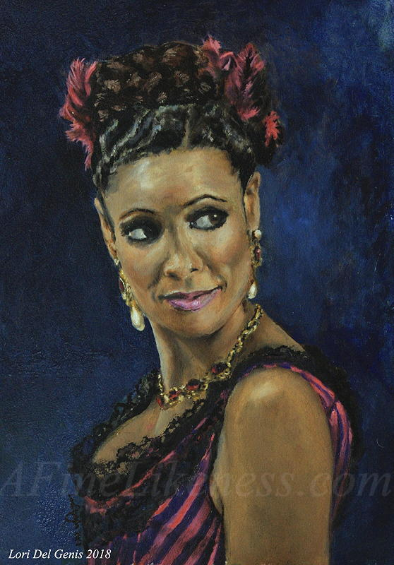 Oil portrait by Lori Del Genis of Maeve Fan Art (from 'West World'). Maeve is wearing a fuschia Madam's costume from the Old West and smiling at something the viewer cannot see.
