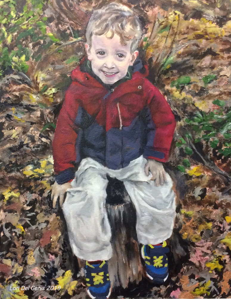 'Carl, age 5'. Oil painting of a smiling little boy seated on a tree stump, wearing a red and blue jacket and white pants. (Lori Del Genis, 2019)