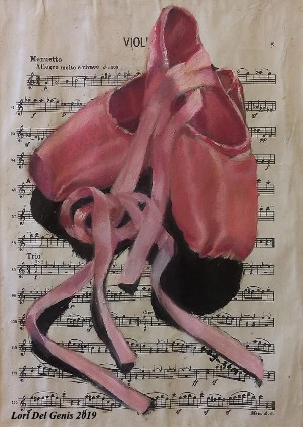 'Harmony' - Oil painting wall or desk art of a pair of pink toe shoes on vintage sheet music. Lori Del Genis (2019).