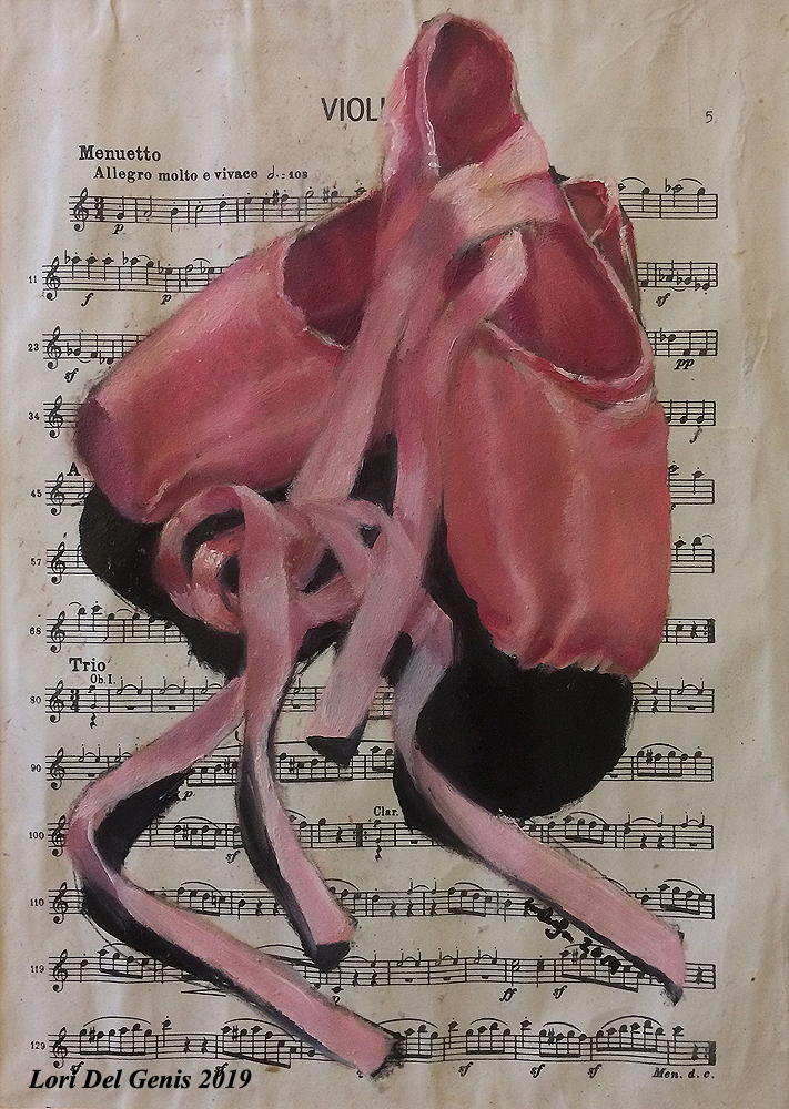 'Harmony' - Oil painting wall art of a pair of pink toe shoes on a background of sheet music. By Lori Del Genis (2019).