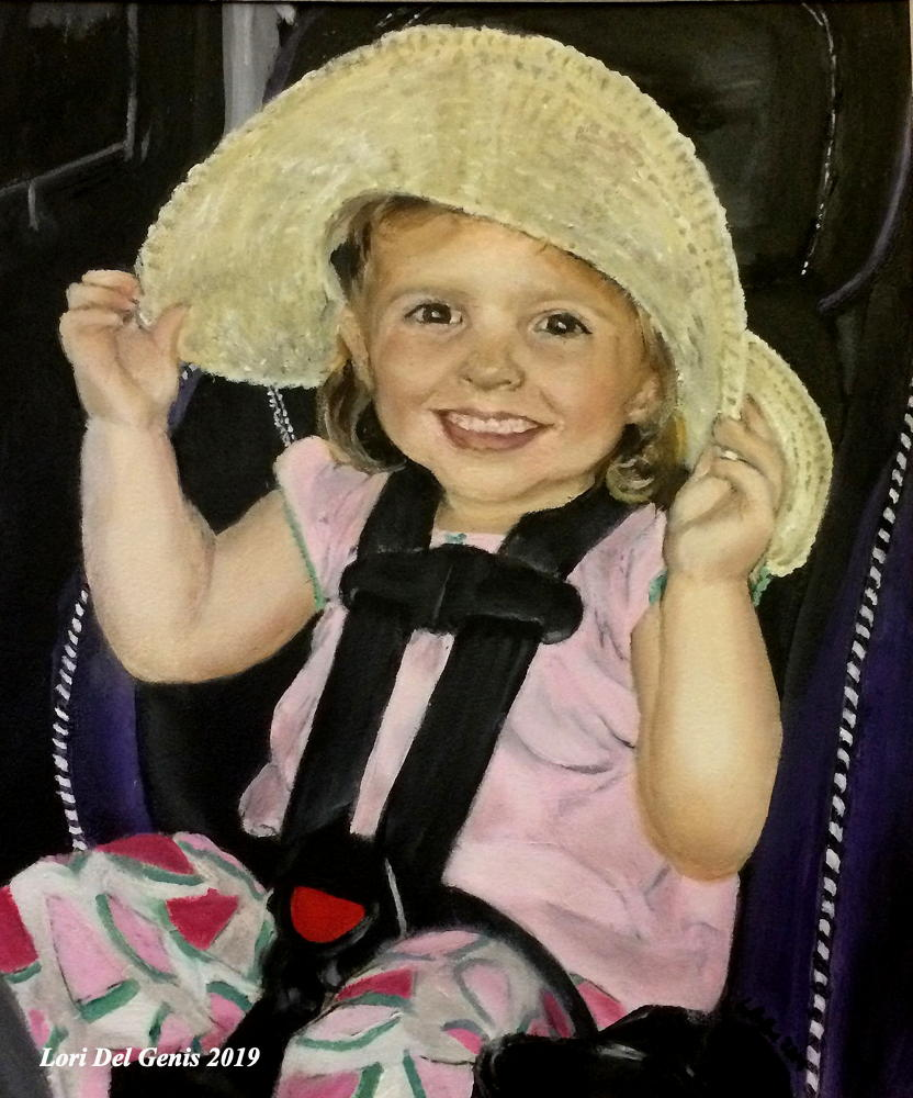 'Harper'. Commissioned oil painting of a smiling little girl in a car seat, wearing a sunhat. (Lori Del Genis, 2019)