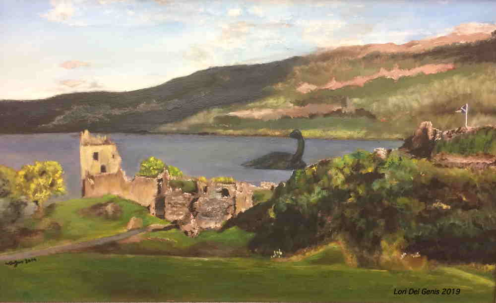 'Loch Ness' - Painting of Loch Ness and Urquhart Castle with 'Nessie' swimming in the background. - Lori Del Genis (2019).