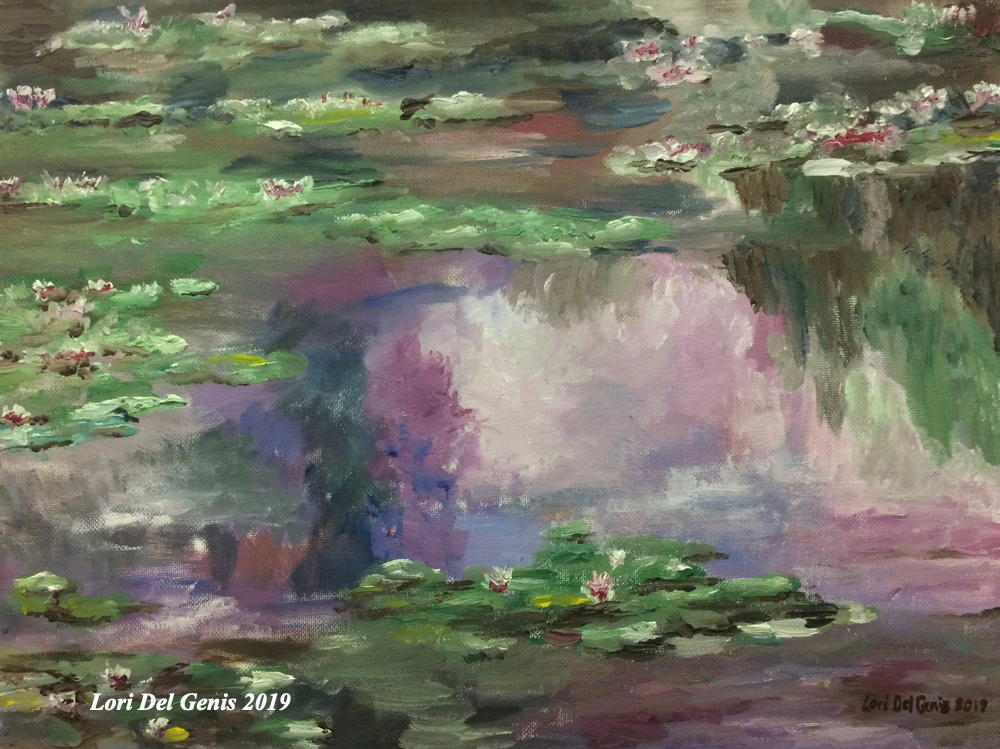 'Monet Waterlilies' Wall art homage to Monet's 'Water Lilies' rendered in a green and purple palette. (Lori Del Genis, 2019)
