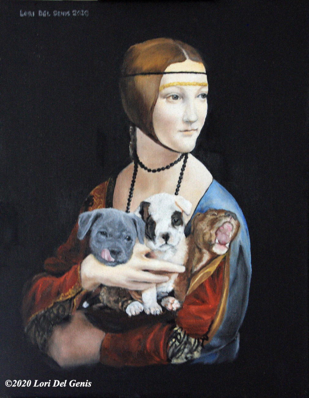 'Lady with Cerberus Puppy', after Da Vinci's 'Lady with an Ermine'. She holds a 3-headed puppy on her lap. Oil painting by Lori Del Genis.