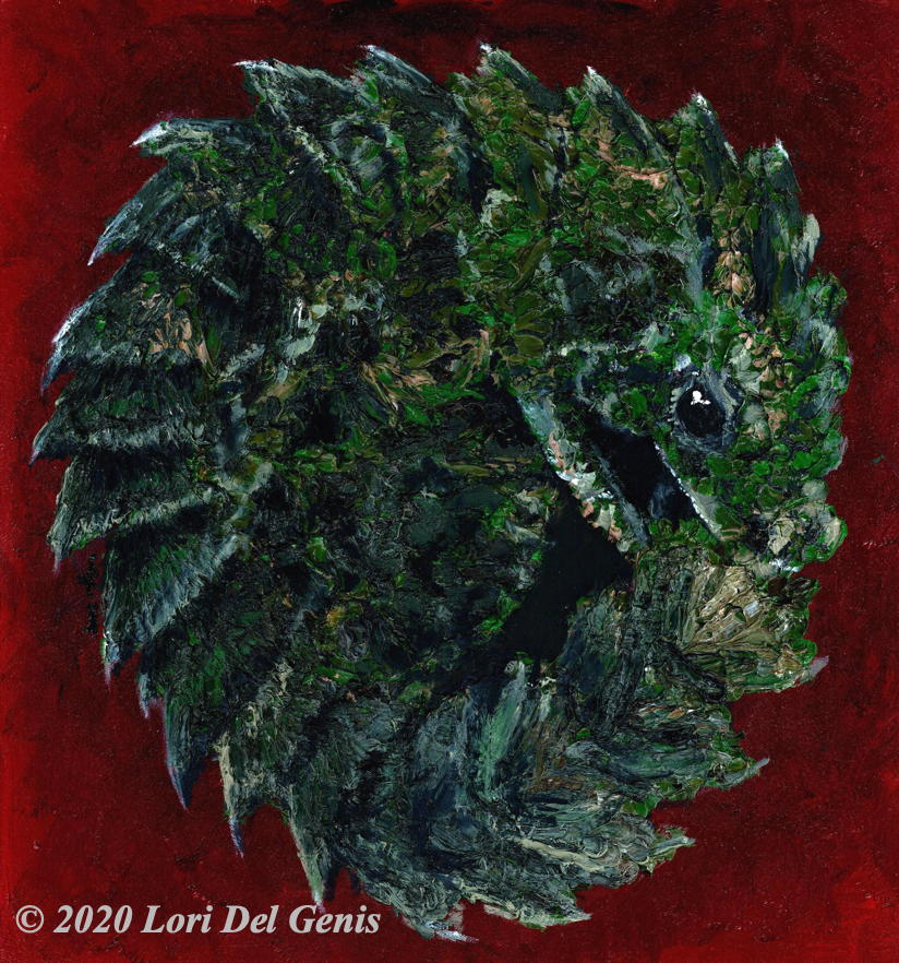 'Ouroboros' depicts a spiky dragon whelp biting its tail in a circular symbol of Infinity. Impasto oil painting by Lori Del Genis.