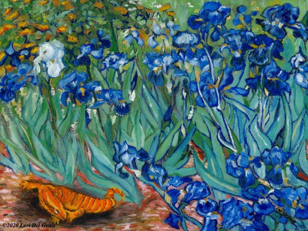 'Salamander Dreams' after Van Gogh's 'Irises' depicts a baby salamander dozing beneath the garden flowers. Oil painting by Lori Del Genis.