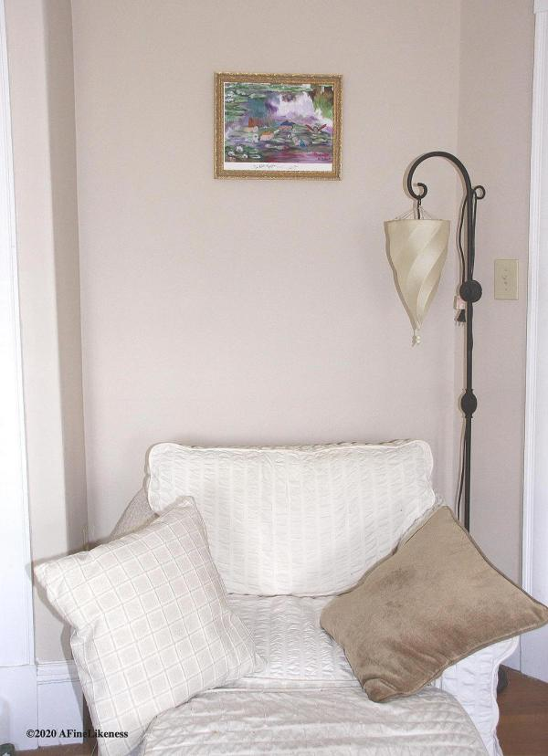 """'Les Petits Nymphéas' size 11""""x 14"""" example of print displayed in a gold frame. Original artwork by Lori Del Genis."""