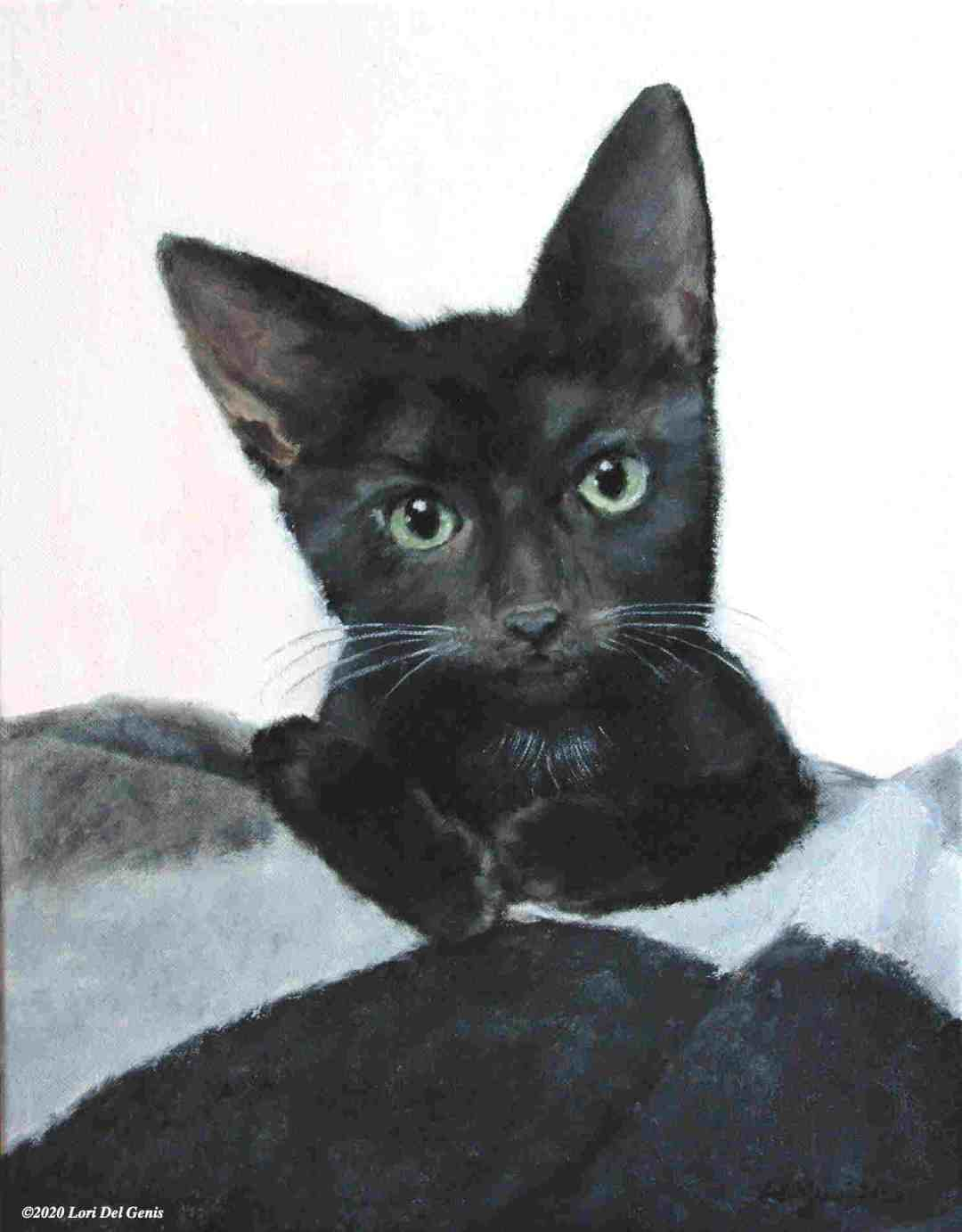 'Minnie' commissioned oil portrait of a black kitten with green eyes by Lori Del Genis (2020)