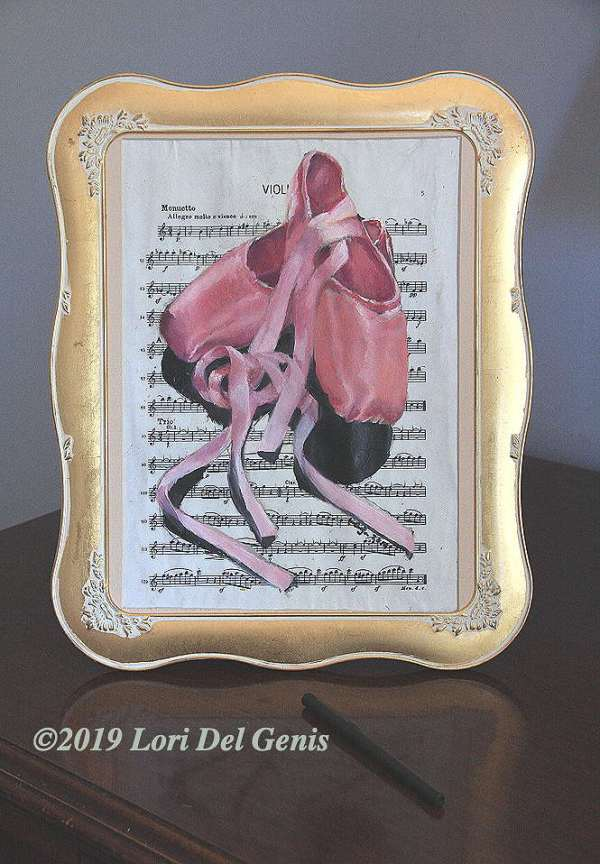 'Harmony' - Oil painting framed wall or desk art of a pair of pink toe shoes on vintage sheet music. Lori Del Genis (2019).