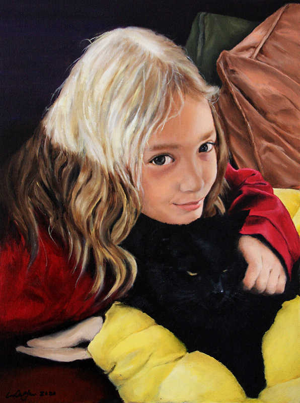 'Sadie and Aiko' commissioned oil portrait of a smiling young girl with a black cat by Lori Del Genis (2020)