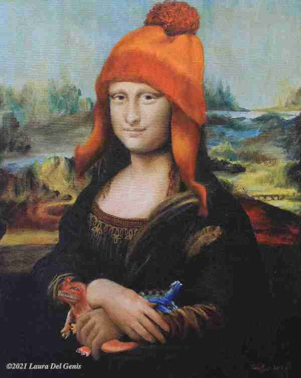 'Not Afraid of Anything' Mastercopy of Da Vinci's 'Mona Lisa' wearing a knit hat and holding toy dinosaurs (Laura Del Genis, 2021)