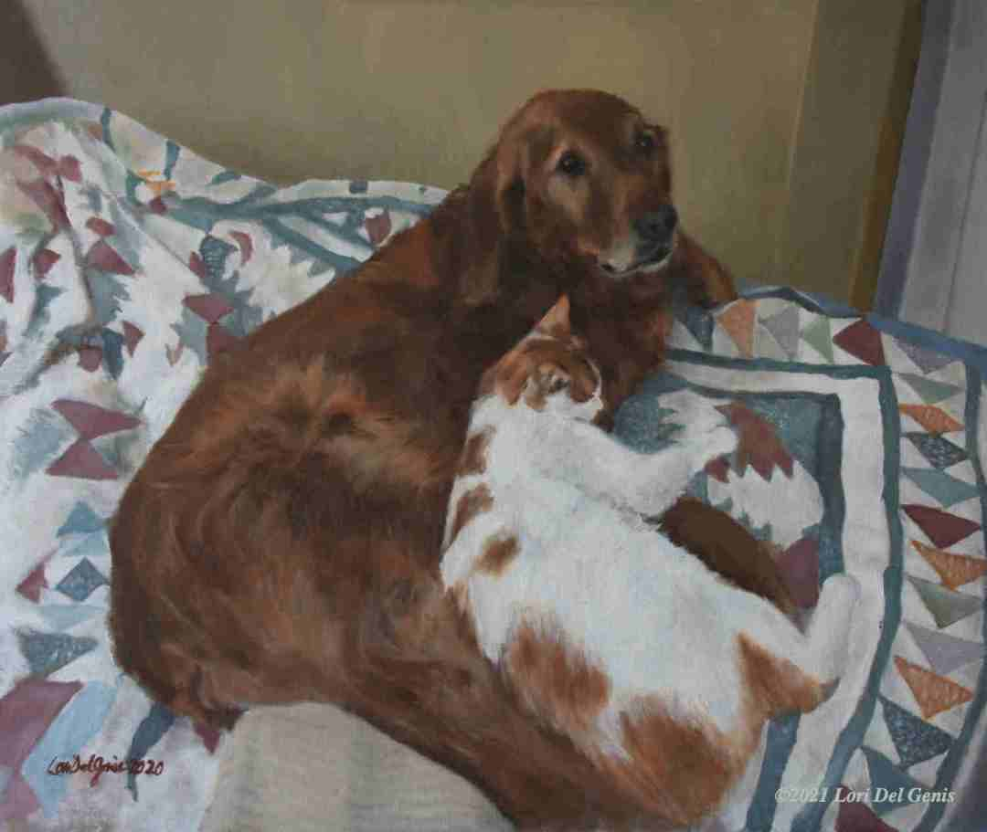 'Sandy' memorial oil portrait commission of a beloved dog and the cat she adopted. (Lori Del Genis, 2021)