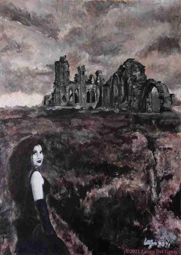 'La Belle Dame Sans Merci' Original Painting of Abbey Ruins Haunted by a Beautiful Restless Spirit (Laura Del Genis, 2021)
