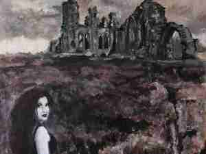 'La Belle Dame Sans Merci' Original Painting of Abbey Ruins Haunted by a Beautiful Restless Spirit (Laura Del Genis, 2021)