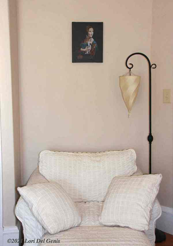 "'Lady with Cerberus Puppy' size 11""x 14"" canvas print shown in situ. Original artwork by Lori Del Genis (2020)"