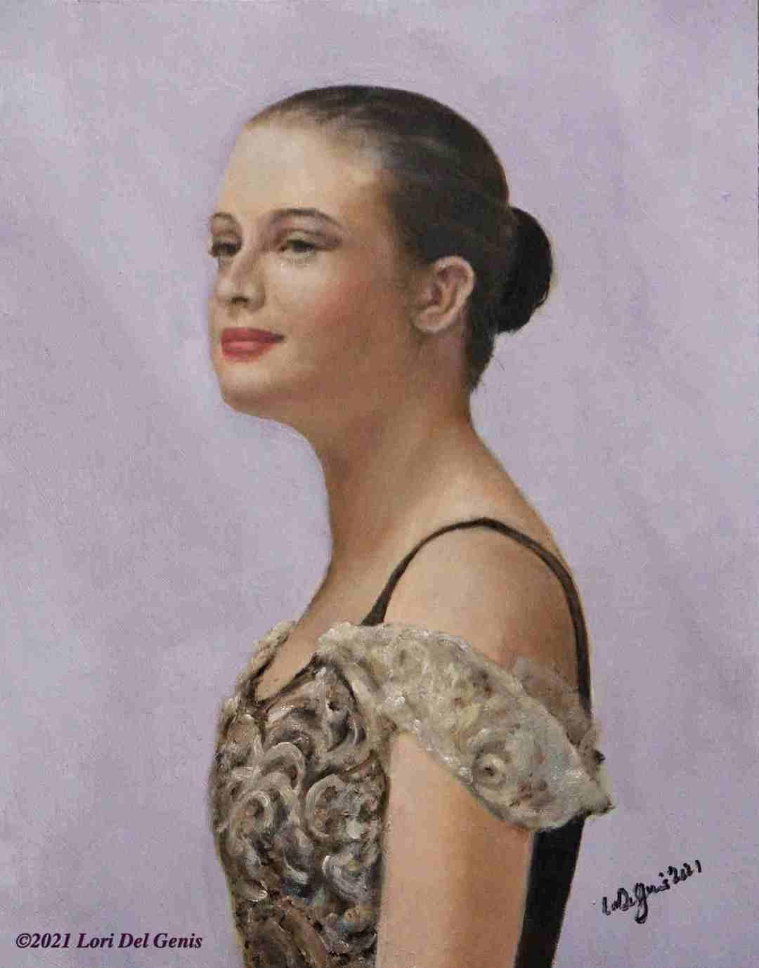 'Bridget' is a commissioned oil portrait of a beautiful young ballerina. (Lori Del Genis, 2021)