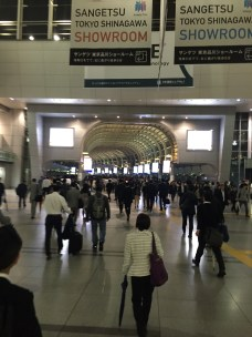 Lots of well-dressed folks still fill the train station corridors even at 9 pm.